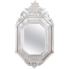 Pssst...Your bathroom NEEDS this: 19th century antique Venetian glass mirror in a Baroque style topped off with a floral motif and scalloped, beveled edges // link in profile. #boroquestyle #antique #italianstyle #homedecor #italiandecor #mirror