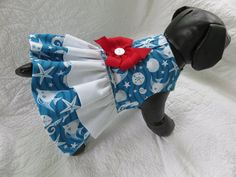Dog Dress Sea Side  with two ruffles and built by graciespawprints