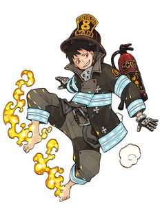 Os Personagens de Fire Force (Enen no Shouboutai) Manga Anime, Anime Guys, Anime Art, Fire Brigade Of Flames, Character Art, Character Design, Shinra Kusakabe, Awesome Anime, Anime Shows