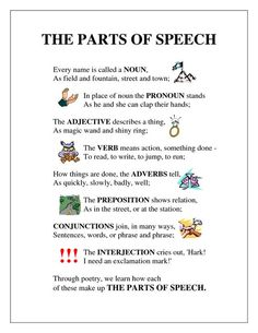 Parts of Speech Poem: