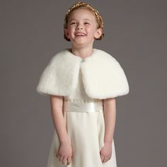Rjr.John Rocha Kids Girls Ivory Faux Fur Collar Cardigan