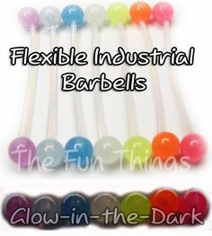 "FLEXIBLE INDUSTRIAL BARBELL 1.5"" 14GA GLOW-IN-THE-DARK INDUSTRIAL BARBELL PICK 1"