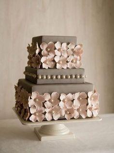 Pretty Metallic Flowers with Pearls Grey Wedding Cake
