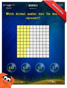 Third Grade Math Apps - Decimals - Hundredths Worksheet