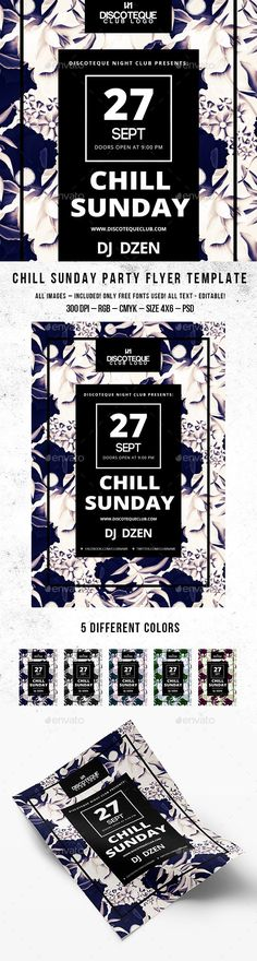 Chill Sunday Party Flyer Template - minimal style #design Download…