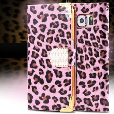 DR.CASE For Samsung S6 Cases Fashion Crystal Diamond Stand Wallet Leather Case For Samsung Galaxy S6 G9200 Leopard Skins Cover