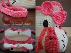 Hello Kitty Purse pattern by Belle Tracy Kawaii Crochet, Love Crochet, Crochet Gifts, Crochet For Kids, Crochet Toys, Crochet Baby, Hello Kitty Crochet, Hello Kitty Purse, Basic Crochet Stitches