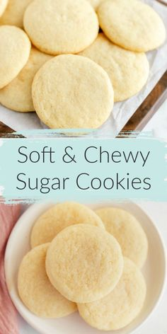 The most perfect sugar cookie recipe! These soft & chewy sugar cookies turn out perfectevery time! These Easy Sugar Cookies are incredibly soft, chewy, and they don't require any dough chilling. The perfect simple cookie for any occasion! Homemade Sugar Cookies, Sugar Cookie Recipe Easy, Chewy Sugar Cookies, Sugar Cookie Dough, Easy Cookie Recipes, Yummy Cookies, Cookies Et Biscuits, Easy Desserts, Baking Recipes