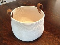 Natural coloured cotton rope basket -Quality machine sewn -Leather handle secured with silver grommets inch diameter inch height inch Blanket Basket, Rope Basket, Cotton Rope, Leather Handle, Yoga, Storage, Natural, Silver, Handmade