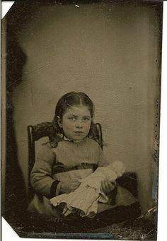 1 6 Plate Tintype Little Girl Holding Doll Circa 1880 | eBay