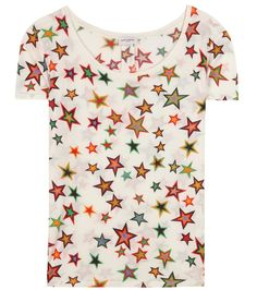 Saint Laurent - Printed cotton T-shirt - Saint Laurent has us starry eyed over this printed T-shirt. The fun staple is crafted from lightweight cotton in ivory and printed in an array of bold colours. We're teaming ours with a miniskirt for a flirty twist. seen @ www.mytheresa.com