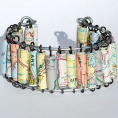 Paper Bead Jewelry. Idea going to half price book for maps n cheap travel or even floral books