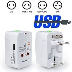 Maxah MX-UC1 Surge Protector All in One Universal Travel Wall Charger AC Power AU UK US EU Plug Adapter  Computers & Accessorie