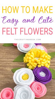 Don ' T you love flowers? Come and take a look at my felt flower tutorial for a fun DIY home decor project for the last so many years! You know how she felt, of flowers, of this simple and fun step-by-step. Simply make felt flowers Handmade Flowers, Diy Flowers, Fabric Flowers, Paper Flowers, Felt Flowers Patterns, Felted Flowers, Felt Roses, Felt Crafts Diy, Felt Diy