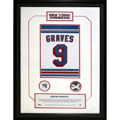 Adam Graves 9 Retired Number NY Rangers 14x20 Framed Collage w Nameplate