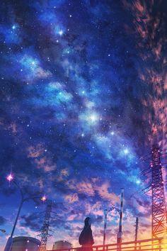Under night sky Sky Anime, Anime Galaxy, Galaxy Art, Anime Backgrounds Wallpapers, Anime Scenery Wallpaper, Animes Wallpapers, Wallpaper Wallpapers, Night Sky Wallpaper, Galaxy Wallpaper