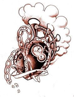 Steampunk Heart by WillemXSM on DeviantArt Fish Drawings, Tattoo Drawings, Line Drawing, Drawing Sketches, Steampunk Heart, Original Tattoos, Heart Tattoo Designs, Future Tattoos, Designs To Draw