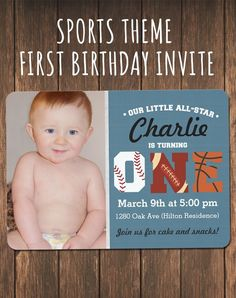 Sports Themed First Birthday Invitation. Boy 1st birthday invite: