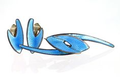 Vintage 925S Sterling Silver Blue Enamel Brooch and Clip on Earrings by Karl A Rasmussen of Norway Modernist
