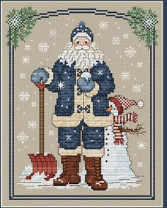 Snowflake Santa - Cross Stitch Pattern