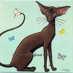 LIMITED-EDITION-HAVANA-ORIENTAL-CAT-BUTTERFLY-PAINTING-PRINT-BY-SUZANNE-LE-GOOD