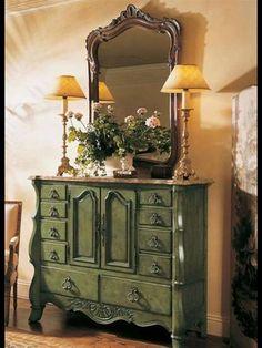 Olive green with dark wax