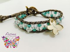 Hermosa pulsera tejida con cristales y shakiras de Fasna... beautiful bracelet woven with crystals and shakiras of fasna ...