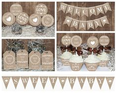 Neutral Rustic Baby Shower decorations printable, Gender neutral Baby shower, Lace and Burlap style decors, Baby shower idea, Neutral Baby Baby Shower Niño, Shower Bebe, Gender Neutral Baby Shower, Burlap Baby Showers, Welcome Baby Banner, Baby Shower Decorations Neutral, Rustic Birthday, Wishes For Baby Cards, Baby Boy Shower