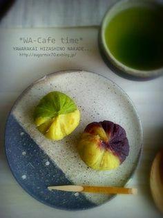 Sweet Potato Chakin Shibori, dual colored with matcha and red bean paste サツマ茶巾