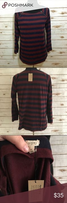 J. Crew striped top NWT, striped top from j crew (the tag attached is the fabric detail tag) maroon/red and navy stripes with two zipper details on shoulders- make an offer or bundle and save! J. Crew Tops