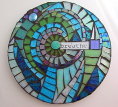 Breathe round glass mosaic wall hanging by LeAnnChristian on Etsy More