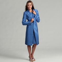 @Overstock - This fashionable dress from Le Suit features a classic french blue color. A long-sleeve jacket with a decorative button and sleeveless dress finish this flattering two-piece set.http://www.overstock.com/Clothing-Shoes/Le-Suit-Womens-French-Blue-One-button-Dress/6525377/product.html?CID=214117 $98.99