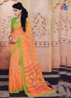 Yellow Orange and Green Daily Wear Printed Cotton Saree Cotton Sarees Online Shopping, Silk Sarees Online, Cotton Silk, Printed Cotton, Orange, Yellow, Daily Wear, Sari, Green
