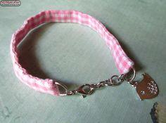 Stoffarmband rosa/weiß kariert & Vogelanhänger