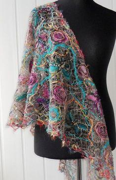 Items similar to Handmade shawl , crazy wool technique, fo Nuno Felting, Needle Felting, Fabric Decor, Fabric Art, Water Soluble Fabric, Nuno Felt Scarf, Textiles Techniques, Textile Fiber Art, Wool Art