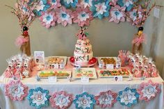 Cherry blossom birthday party dessert table! See more party ideas at CatchMyParty.com!