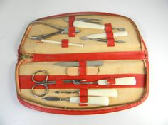 Vintage manicure set in leather case made in west by FeliceSereno, $20.00
