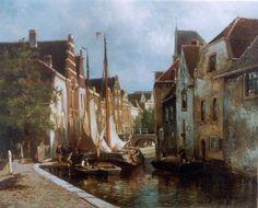 Willem Hendrik Eickelberg (Amsterdam 1845-1920 Hilversum) Stadsgracht met afgemeerde vrachtschuiten - Kunsthandel Simonis en Buunk, Ede (Nederland).