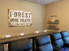 Home Theater Room Our Basement Makeover - Chaylor & Mads Theatre Room Seating, Home Theater Room Design, Home Cinema Room, Home Theater Rooms, Basement Bar Designs, Home Bar Designs, Basement Ideas, Man Cave Living Room, Living Room Sets