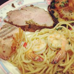 Salmon, pork, mushroom, pasta! - @marcuspang- #webstagram