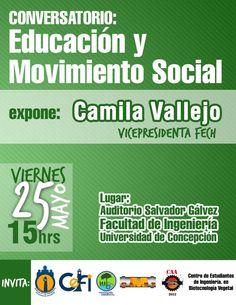 """Viernes 25 / Conversatorio: """"Educación y Movimiento Estudiantil"""" con Camila Vallejo http://www.agendabiobio.cl/2012/05/conversatorio-educacion-y-movimiento-estudiantil-con-camila-vallejo.html"""