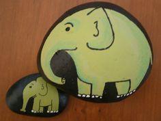 "Painted rock ""Green Elephants"" - Set - Mother elephant and Baby elephant on Etsy, $15.00"