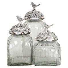 3 Piece Birds Jar Set