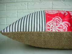 "Decorative PIllow Throw Lumbar - Burlap - Black Ticking - Persimmon Red - Amy Butler - Farmhouse Cottage Chic 16x20"". $48,00, via Etsy."