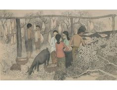 Cheong Soo Pieng. Drying Salted Fish. 1978. Chinese ink and colour on cloth, 55.5 x 88.5 cm. Gift of Trans Island Bus Services Ltd. Collection of National Gallery Singapore. ©Cheong Soo Pieng family. Image courtesy of National Heritage Board.