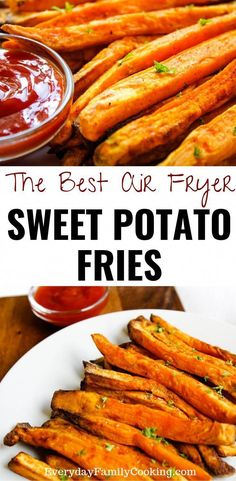 How to make homemade sweet potato fries in an air fryer. Use fresh sweet potatoes as the perfect side dish for family dinners including for kids. Includes tips and tricks on how to cut a sweet potato easily to make this dish even faster. Air Fryer Sweet Potato Fries, Frozen Sweet Potato Fries, Homemade Sweet Potato Fries, Freeze Sweet Potatoes, Air Fryer French Fries, Sweet Potato Recipes, How To Cook Sweet Potato, Air Fryer Fries, Homemade French Fries