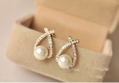 Luxury Brand design classic Simulated pearl stud earrings //Price: $7.46 & FREE Shipping //     #Jewelry1