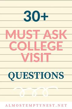 College Visit Checklist: 30  Must Ask College Visit Questions. Don't leave home or take a virtual college visit without a college visit checklist. Find out the things you need to know about each school with these college visit tips. #almostemptynest #collegevisit