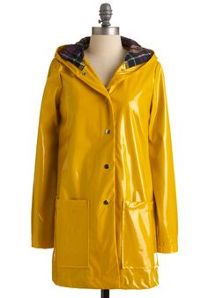 Pretty Slicker Rain Coat. Dont let a little rain dampen your stylish spirits! #yellow #modcloth