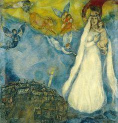 """Marc Chagall ( 1887 - 1985) pintor francés de origen bielorruso. Se inspiró en las costumbres de la vida en Bielorrusia e interpretó muchos temas bíblicos. """" The Virgin of the village """" 1938-42 Oil. Museo Thyssen-Bornemisza."""